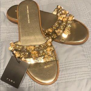 NWT ZARA gold embellished slides